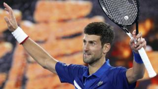 Novak Djokovic celebrates victory