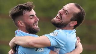 Ballymena celebrate a goal against Glenavon