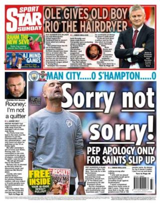 Sunday's Star back page with a picture of Pep Guardiola and the headline sorry not sorry