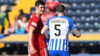 Aberdeen's Scott McKenna and Kilmarnock's Kirk Broadfoot