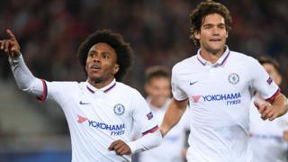 Willian and Marcos Alonso celebrate
