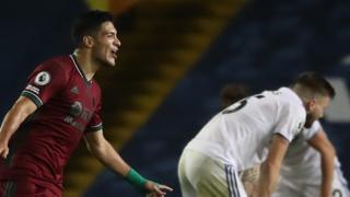 Raul Jimenez celebrates Wolves' winner at Leeds