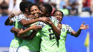 Nigeria's players celebrate scoring against South Korea at the Women's World Cup