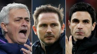 Jose Mourinho, Frank Lampard and Mikel Arteta