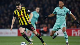 Watford's Craig Cathcart in action with Arsenal's Pierre-Emerick Aubameyang