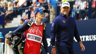 Lee Westwood and his caddie at Royal Portrush