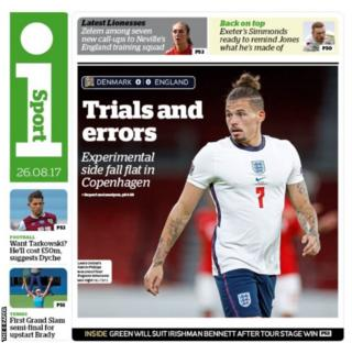 Wednesday's The i Paper back page