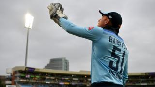 Jonny Bairstow looks to the skies