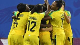 Jamaica celebrate their goal