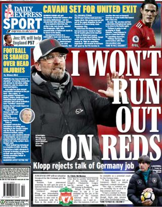 The Express leads on Jurgen Klopp's position at Liverpool