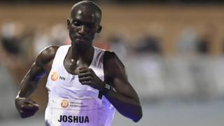 Joshua Cheptegei during his 10,000m world record attempt