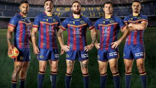 Catalans Dragons in their Barcelona kit
