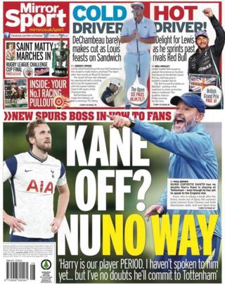 Dernière page du Daily Mirror de samedi