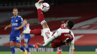 Arsenal's Gabriel attempts an overhead kick