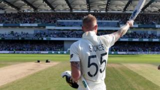 Ben Stokes celebrates on the pitch