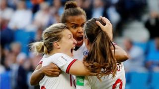 England's players celebrate scoring against Norway at the Women's World Cup