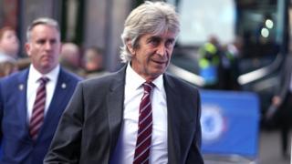 Manuel Pellegrini arrives at Stamford Bridge