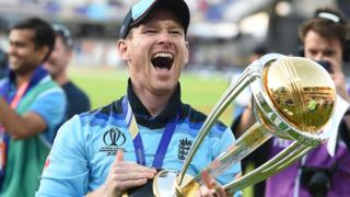 Eoin Morgan of England celebrates winning the men's ODI World Cup Final