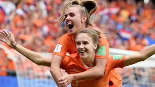Arsenal's Vivianne Miedema celebrates becoming the Netherlands' all-time top scorer