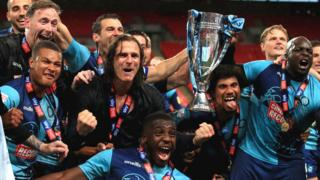 Wycombe Wanderers celebrate promotion to the Championship