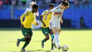 Sara Daebritz of Germany is challenged by Mamello Makhabane of South Africa