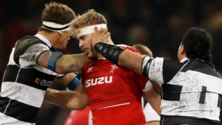 """Wales' Aaron Wainwright clashes with Barbarians' Campese Ma""""afu"""