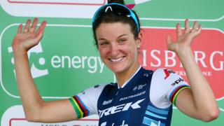 Lizzie Deignan is awarded British Cycling's Best British Rider Jersey after stage two of the Women's Tour