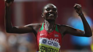 Ruth Chepngetich crosses the line to win the women's marathon