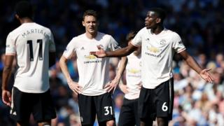 Man Utd trio Anthony Martial, Nemanja Matic and Paul Pogba look dejected during their defeat at Everton
