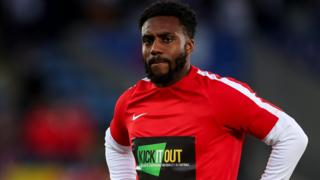 Danny Rose in a Kick It Out T-shirt