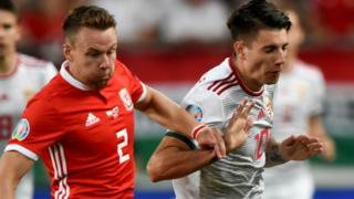 Chris Gunter and Hungary midfielder Dominik Szoboszlai