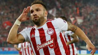 Mathieu Valbuena celebrates equalising from the penalty spot for Olympiakos
