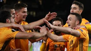 Wolves celebrate a Diogo Jota goal against Besiktas