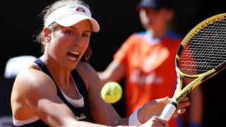 Britain's Johanna Konta in action against Venus Williams