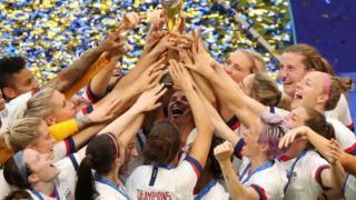 USA celebrate winning the Women's World Cup