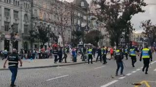 England fans clashed with police in Porto in a fan zone as supporters watched Portugal play Switzerland