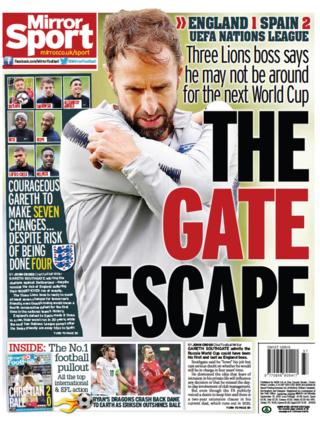 Daily Mirror back page on Monday