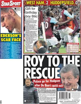 The Star's back page sport leads with Roy Hodgson's expected appointment at Crystal Palace