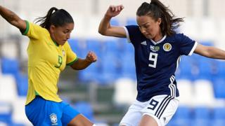 Scotland forward Caroline Weir in action against Brazil