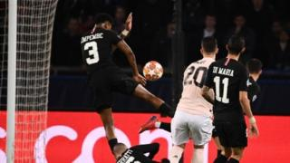 Diogo Dalot's shot hit Presnel Kimpembe's arm as United trailed 3-2 on aggregate