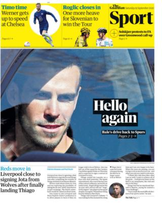 The Guardian and most other papers lead on Gareth Bale's return to Tottenham