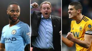 Raheem Sterling (left), Harry Redknapp (centre), Conor Coady (right)