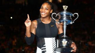Serena Williams celebrates winning the 2017 Australian Open title