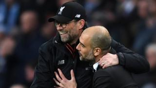 Liverpool boss Jurgen Klopp and Man City manager Pep Guardiola