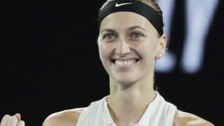 Petra Kvitova celebrates beating Danielle Collins