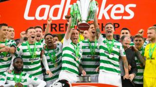 Celtic with the Premiership trophy