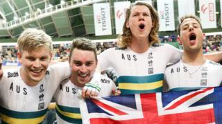 Sam Welsford, Kelland O'Brien, Leigh Howard and Alexander Porter of Australia celebrate winning the Men's Team Pursuit.