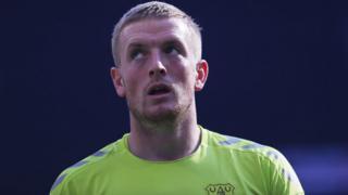 Jordan Pickford playing for Everton