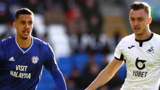 Robert Glatzel of Cardiff City and Swansea City's Ben Wilmot