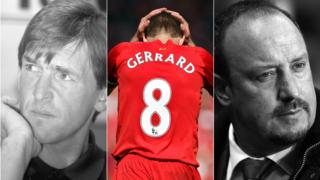Kenny Dalglish, Steven Gerrard and Rafael Benitez